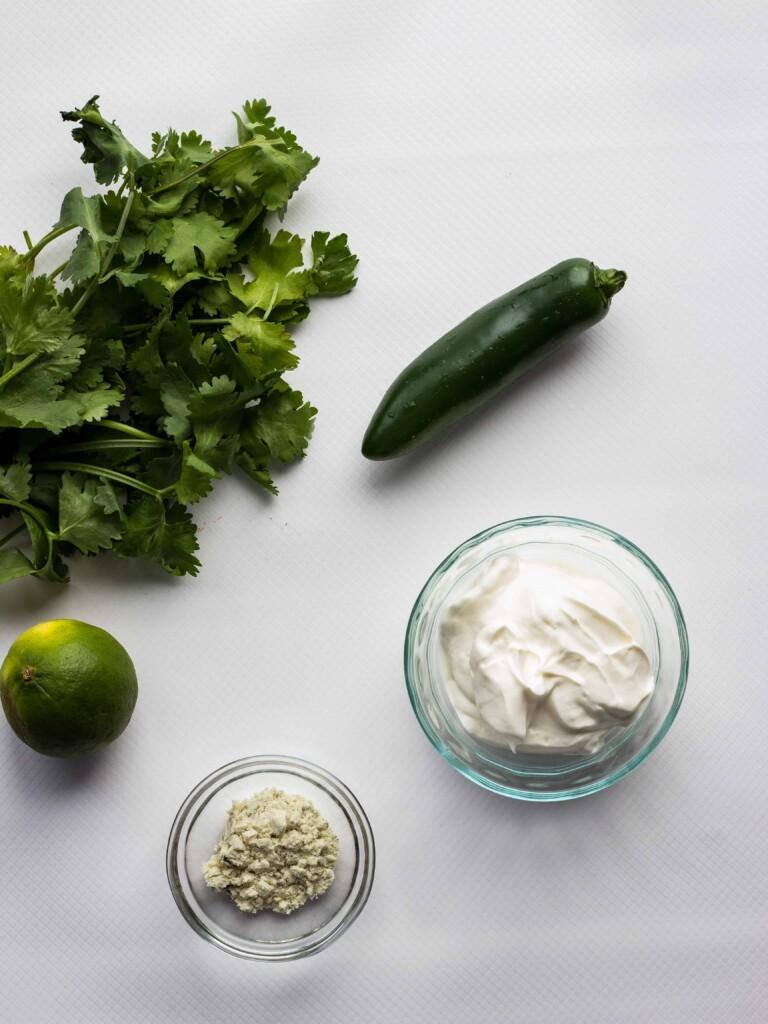 ingredients to make creamy jalapeno dip