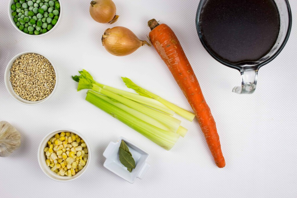 ingredients to make homemade beef & barley soup