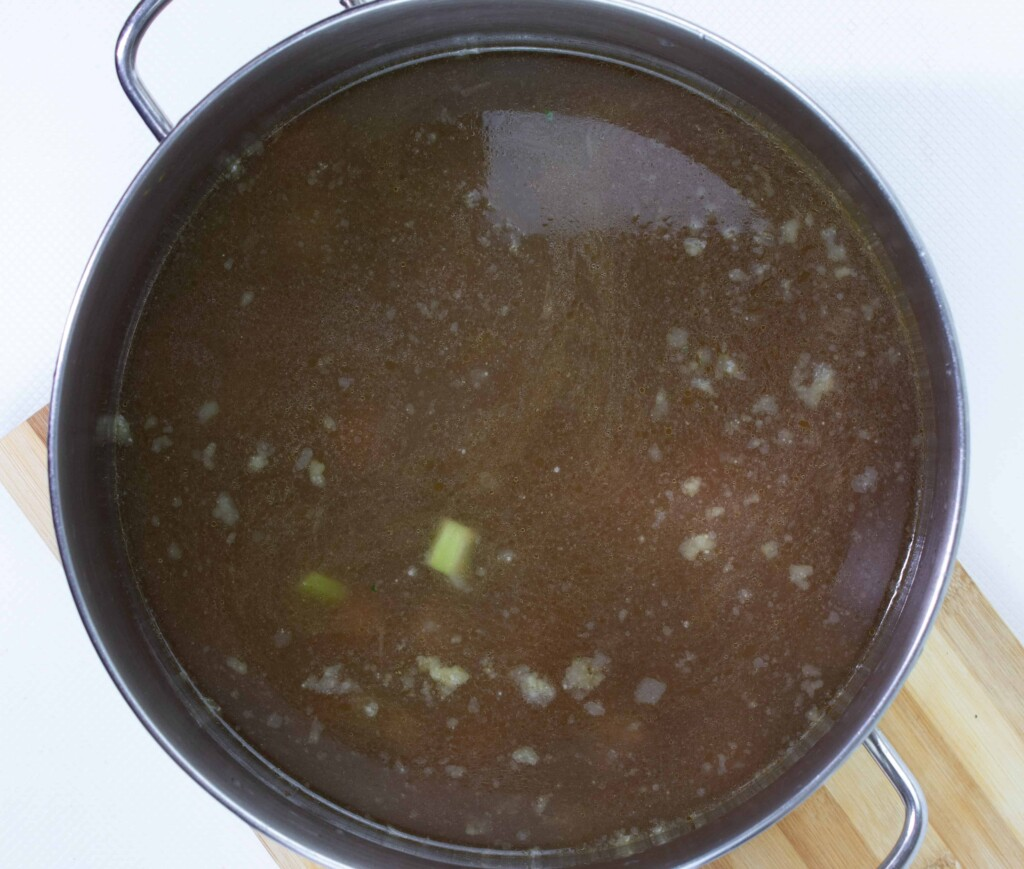 Beef stock added to the beef and veggies.