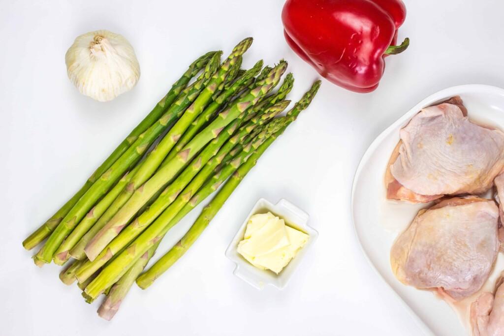 ingredients to make skillet garlic chicken and asparagus
