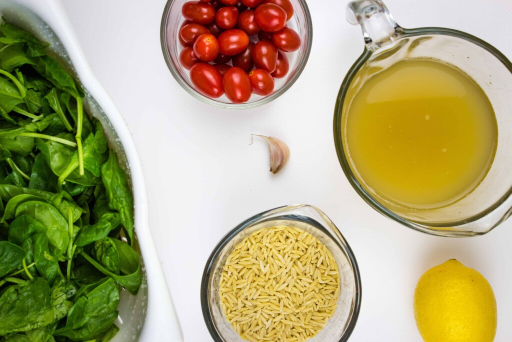 creamy spinach orzo ingredients