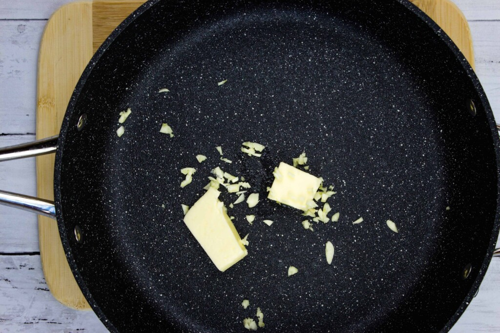 melted butter and sauteed garlic in a skillet to make creamy spinach orzo
