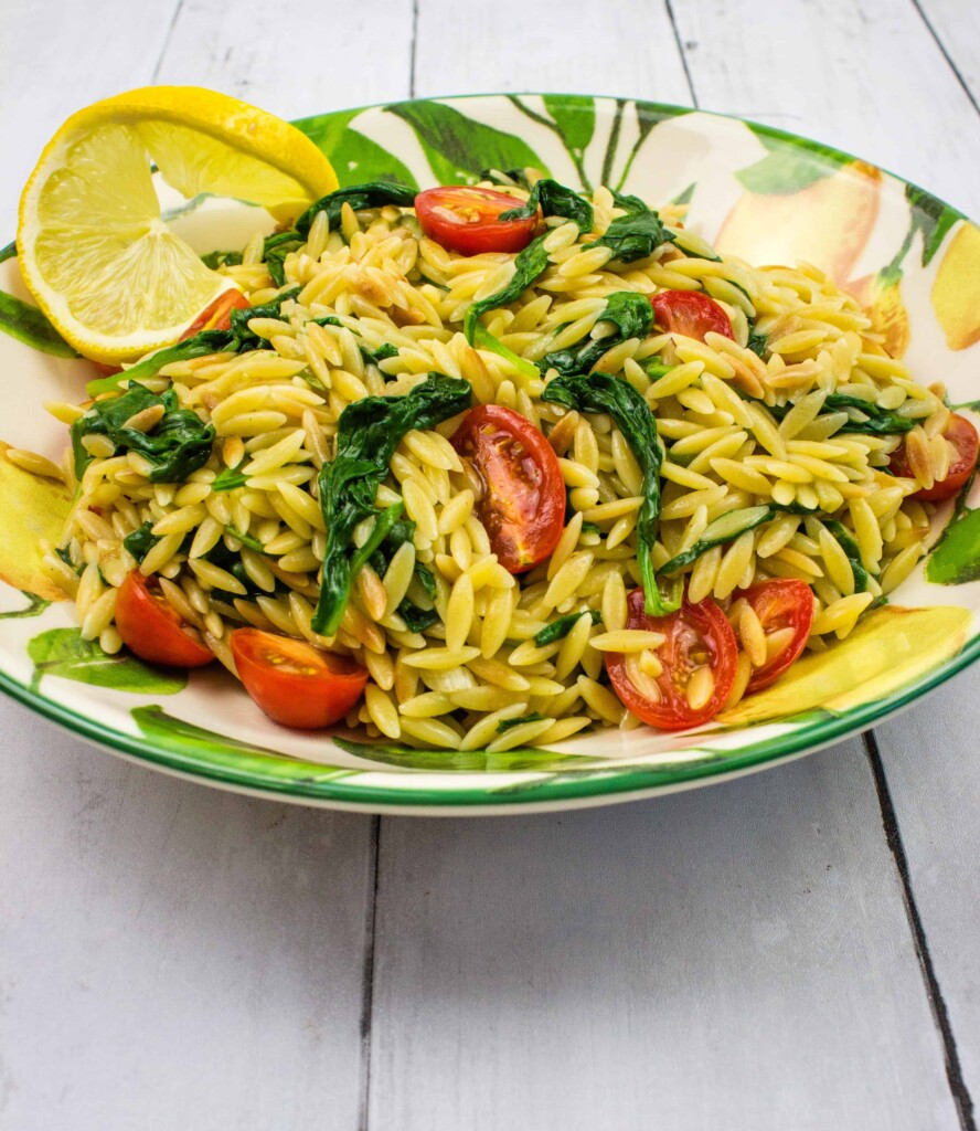 creamy spinach orzo with tomatoes