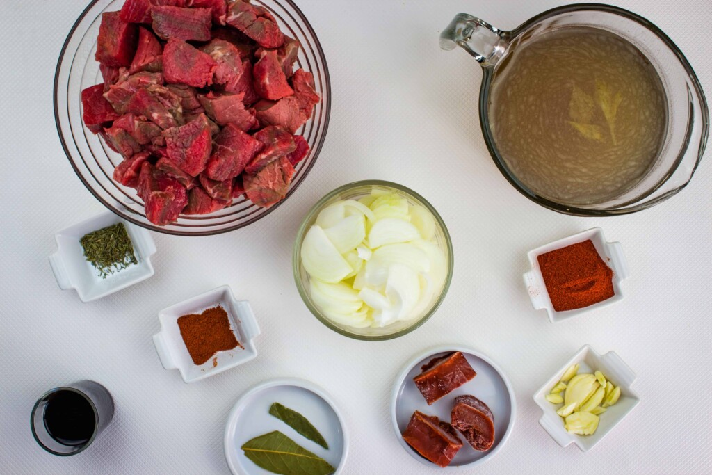 prepped ingredients to make authentic hungarian goulash