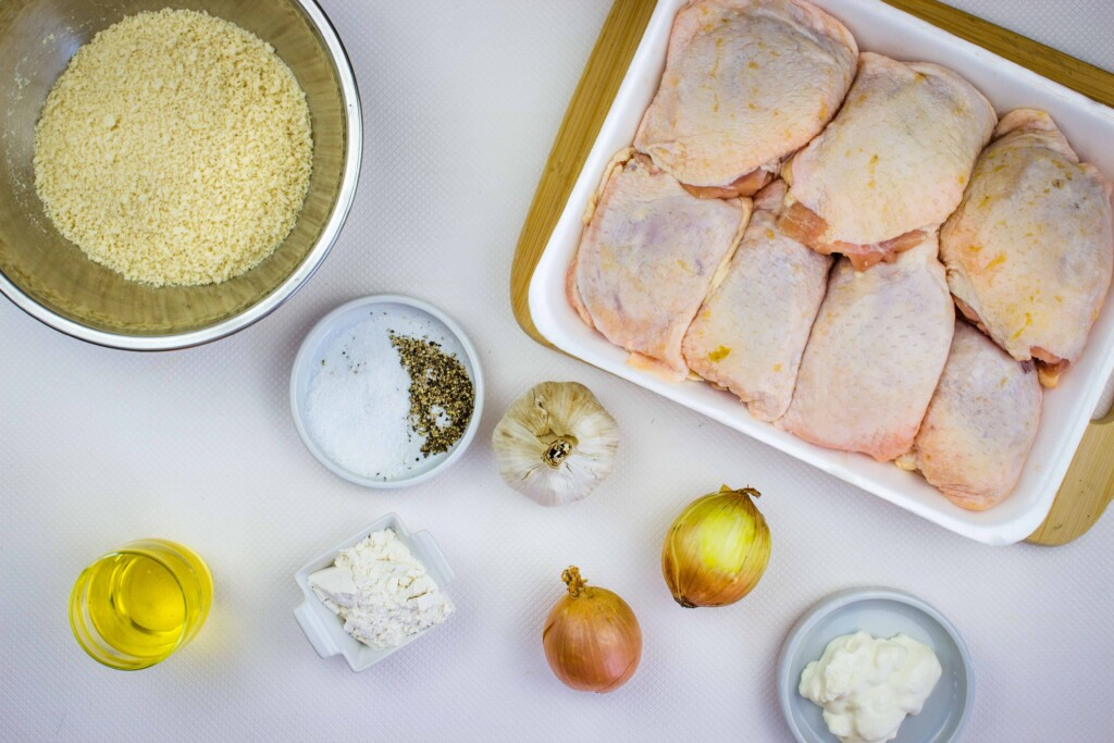 ingredients to make oven baked chicken thighs with onion gravy