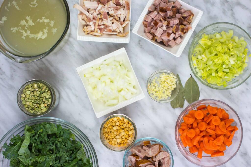 Ingredients to make Split Pea, Ham & Sausage Soup