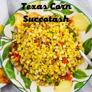 texas corn succotash in a green and yellow serving bowl