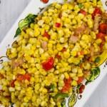 texas corn succotash on a serving platter