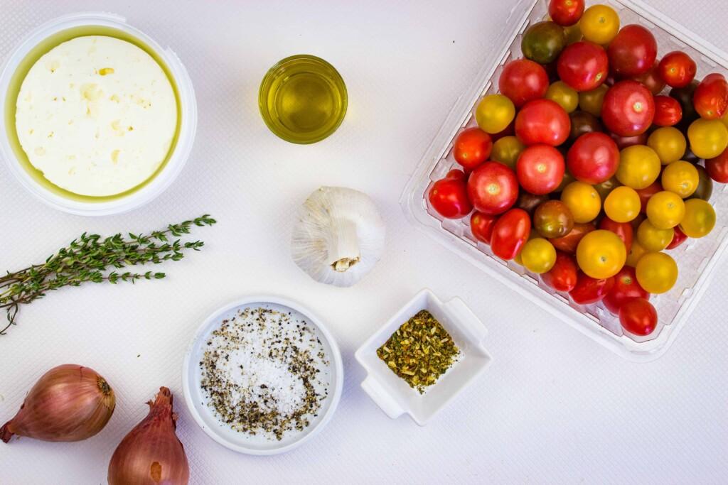 ingredients to make baked feta pasta