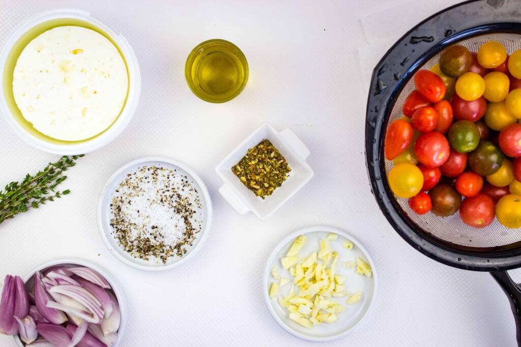 prepped ingredients to make baked feta pasta