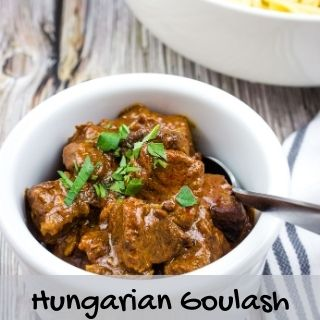 Hungarian Goulash in a white serving bowl
