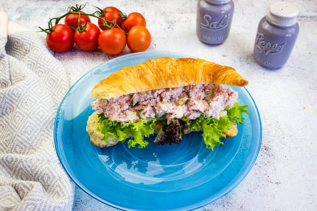 old fashioned ham salad on a croissant