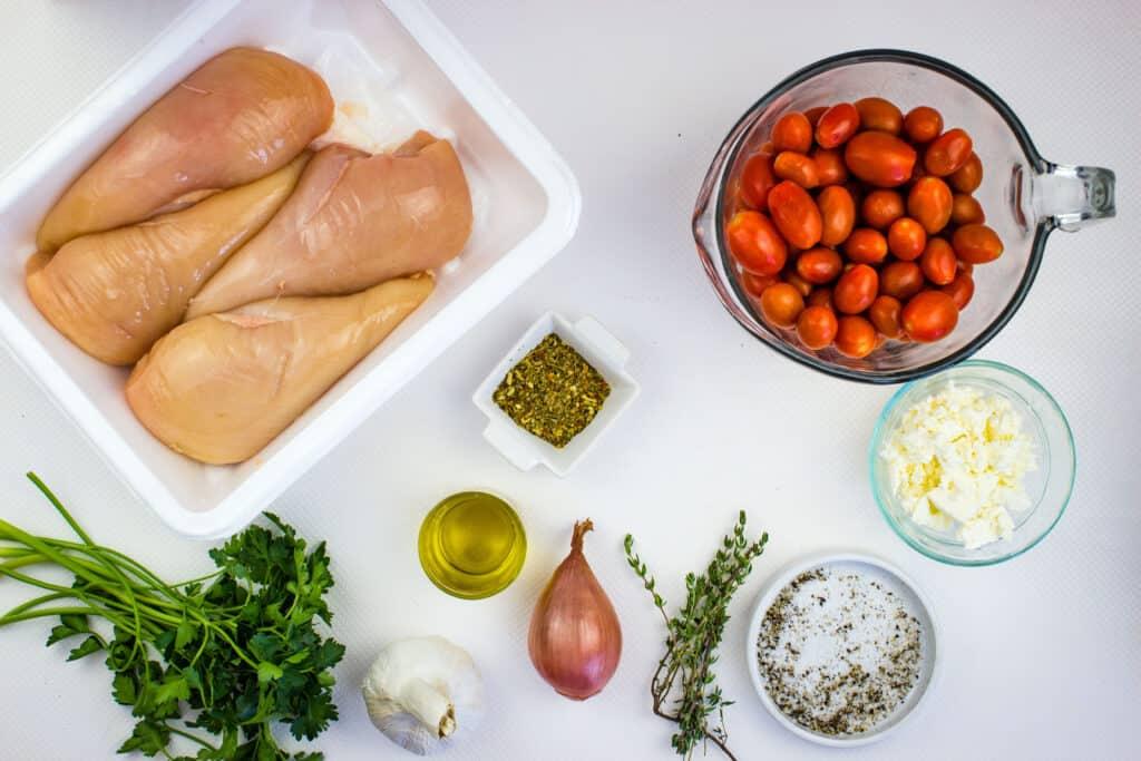 Ingredients to make Mediterranean Chicken Bake