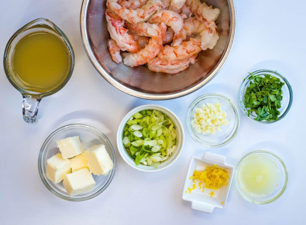 ingredients to make garlic shrimp scampi