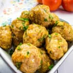 air fryer turkey meatballs in a square serving dish