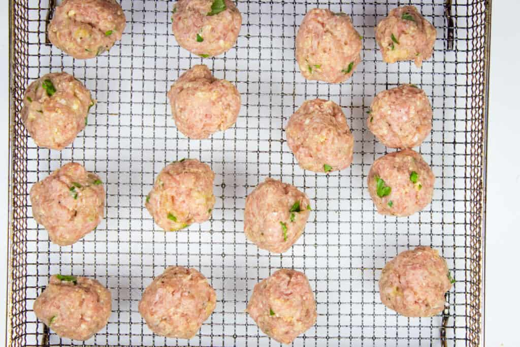 mixture formed into ping pong size meatballs