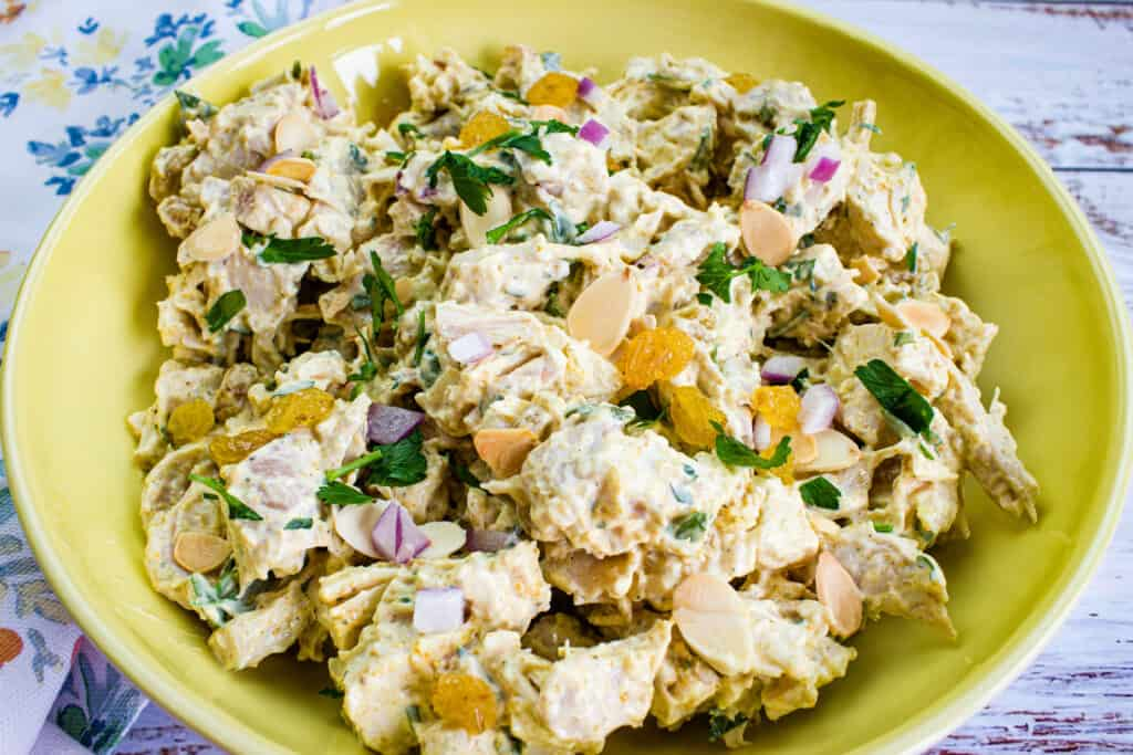 closeup of curry chicken salad with raisins