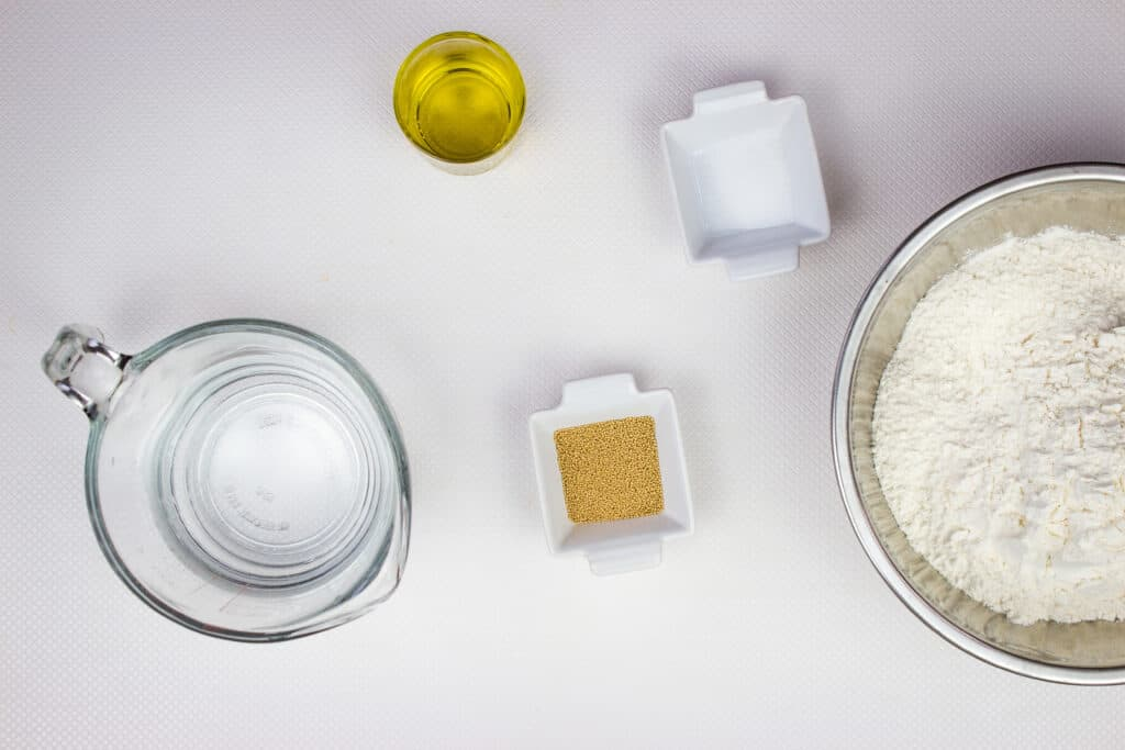 ingredients to make easy pizza dough