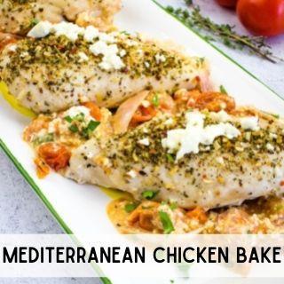 mediterranean chicken bake on a platter