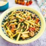 broccoli rabe with sausage pasta in a serving bowl