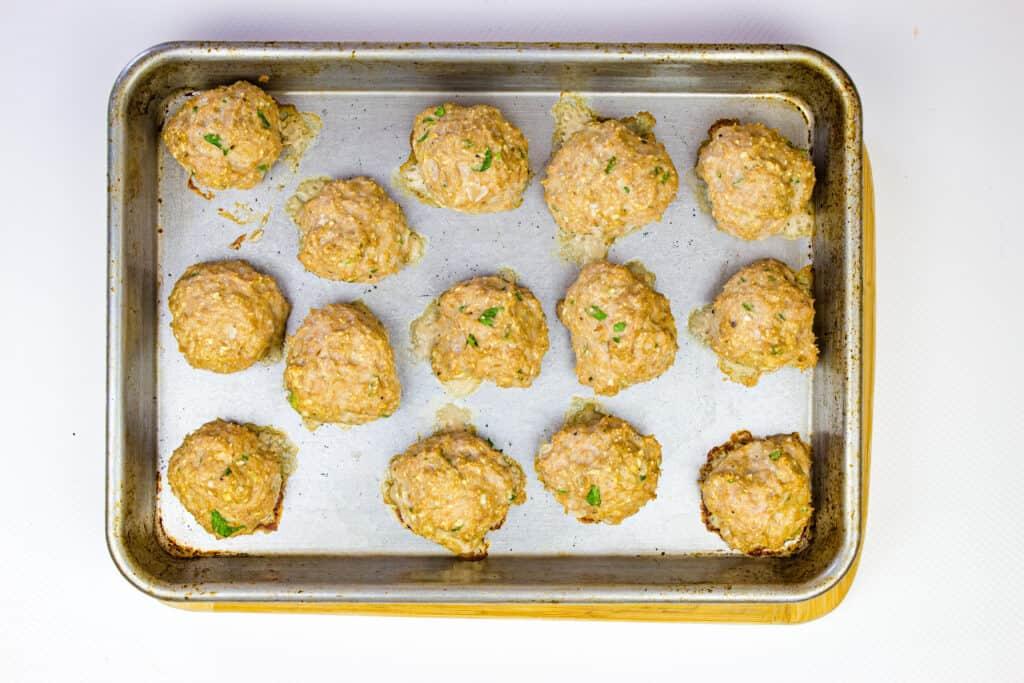 Bake the meatballs on a sheet tray.