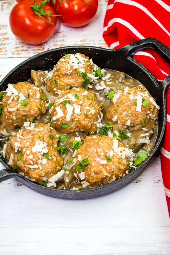 chicken marsala meatballs in a small round serving dish