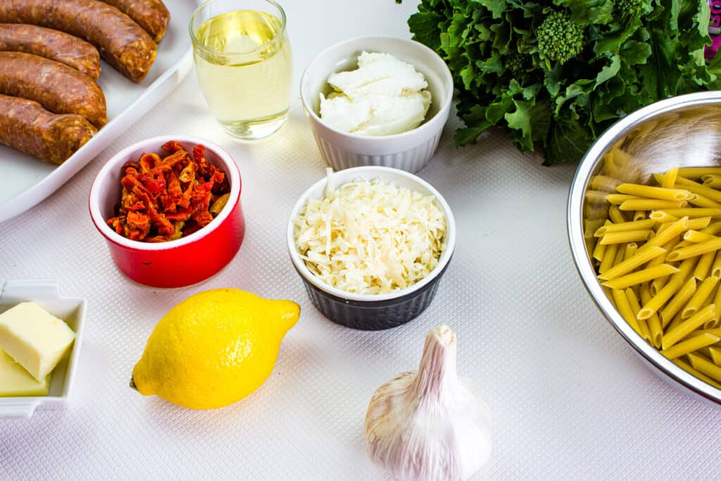 ingredients to make broccoli rabe with sausage pasta