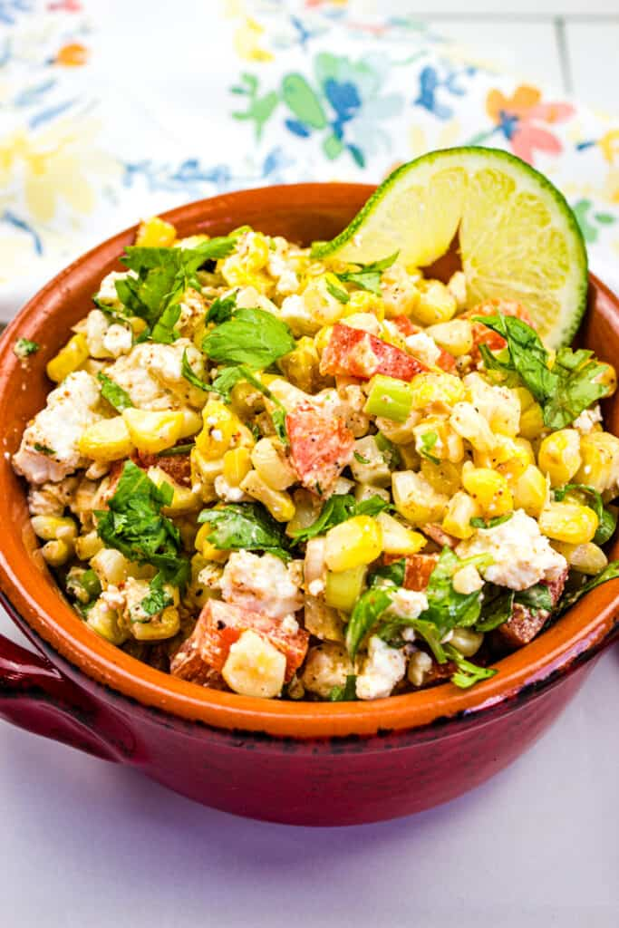 mexican street corn salad in a rustic bowl