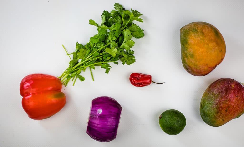 Ingredients to make mango habanero salsa