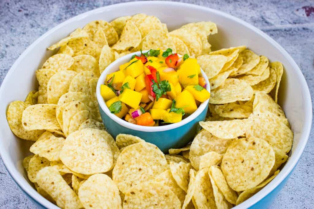 mango habanero salsa with tortilla chips