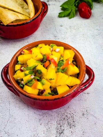 mango habanero salsa in a bowl
