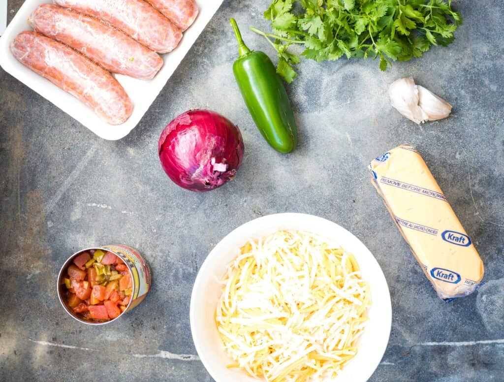 ingredients to make smoked queso dip