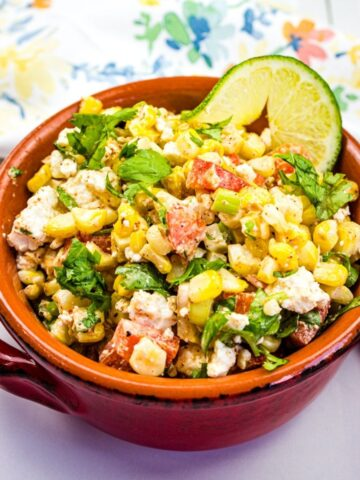 mexican street corn in a rustic bowl