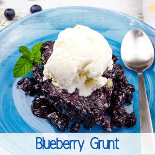 blueberry grunt on a blue plate
