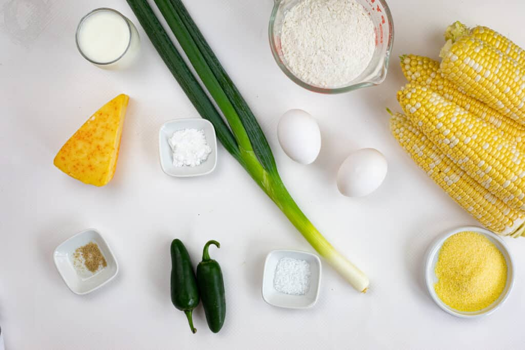 ingredients to make corn fritters with jalapeno and appelwood smoked cheddar