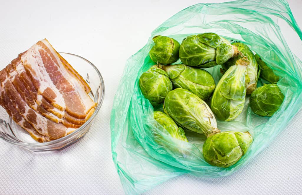 Ingredients to make smoked brussels sprouts