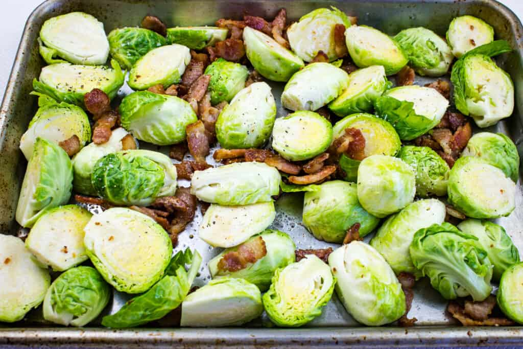 Brussels sprouts with bacon ready for the smoker