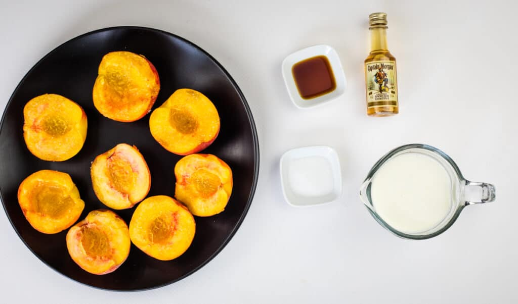 cut peaches in half and sprinkle with sugar