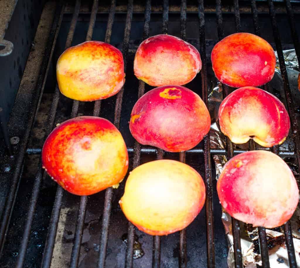 smoking peaches skin-side down