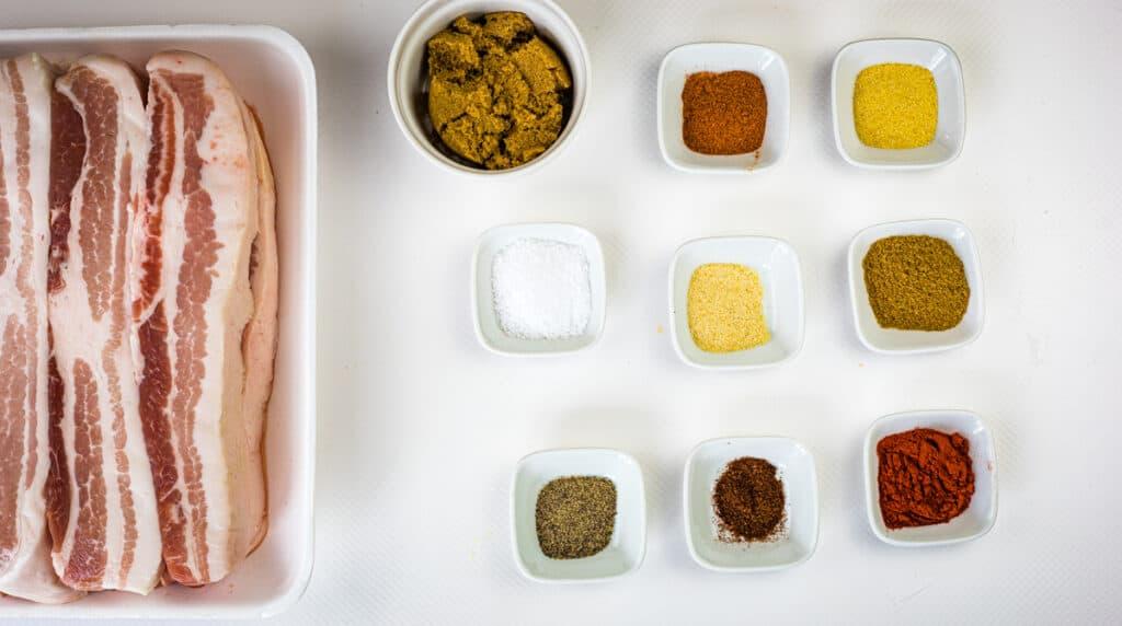 ingredients to make smoked pork belly