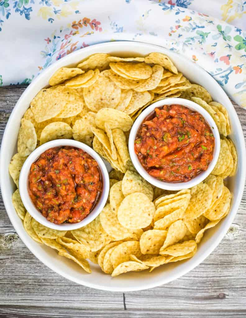 smoked salsa in a serving dish with tortilla chips