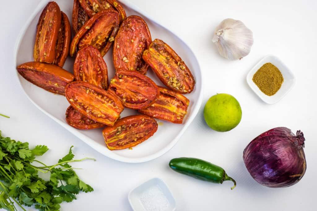ingredients to make smoked tomato salsa
