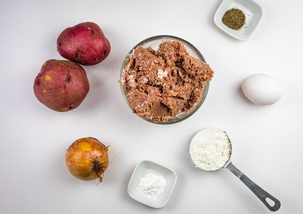 ingredients to make corned beef fritters