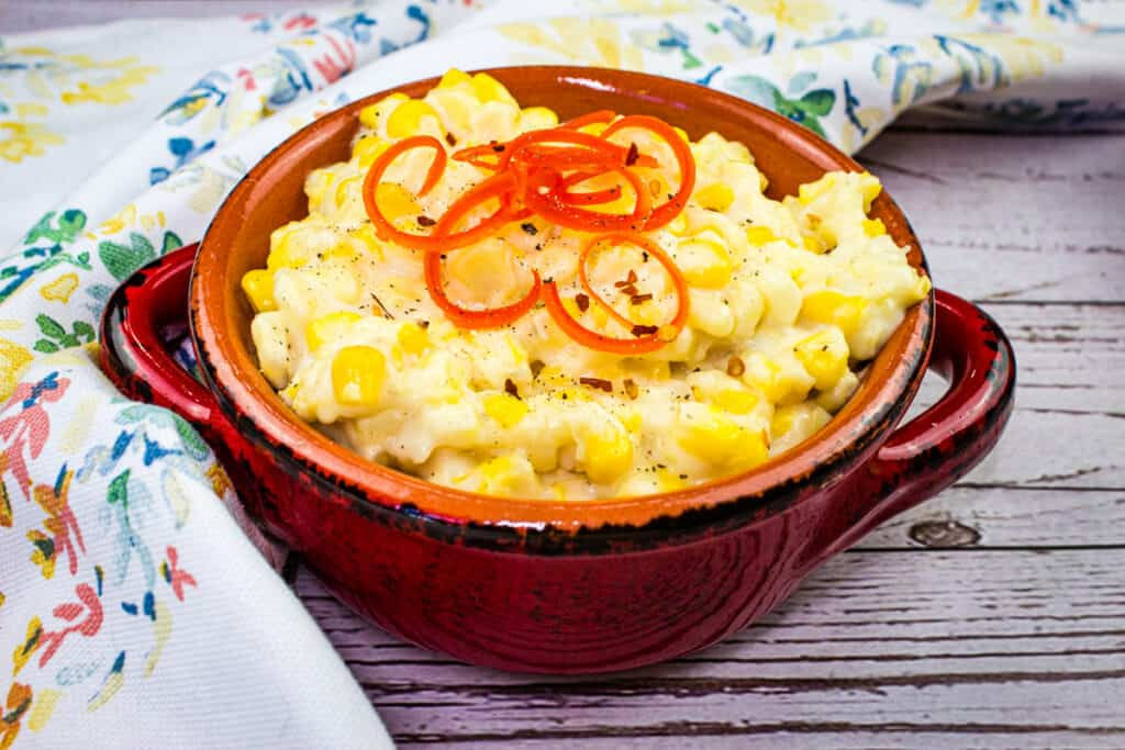 creamed corn in rustic serving dish