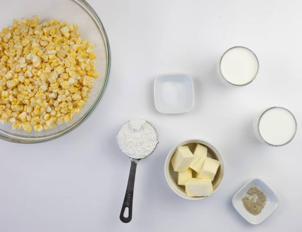 Ingredients to make creamed corn