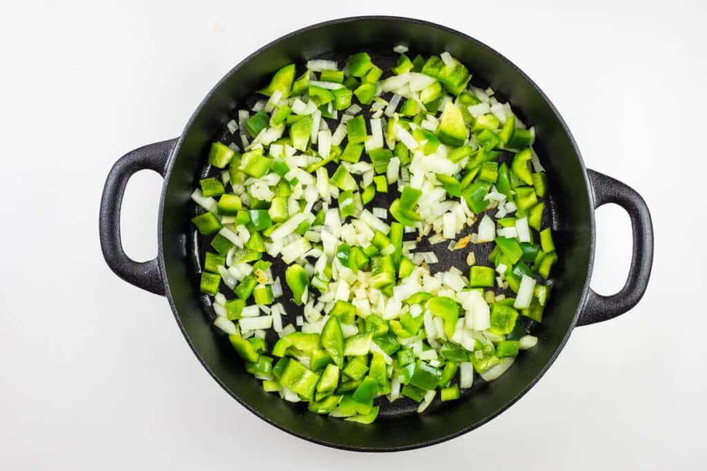 sauteeing the veg to make over the top chili
