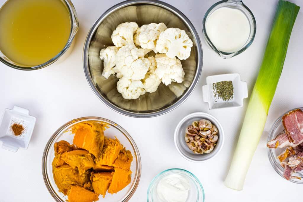 ingredients to make cauliflower and sweet potato soup