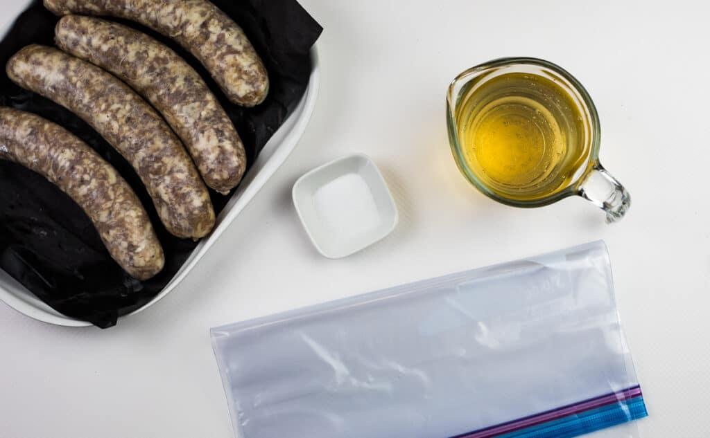 ingredients to sous vide sausage