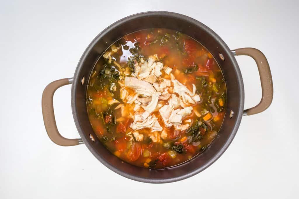 add chicken and tortellini