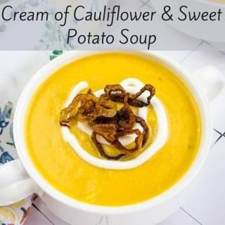 cauliflower & sweet potato soup in a bowl